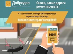 На портале «Добродел» началось голосование по ремонту дорог на 2019 год
